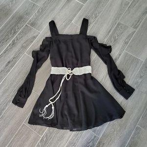ASOS Black Cold Shoulder Dress w/ Beaded Belt